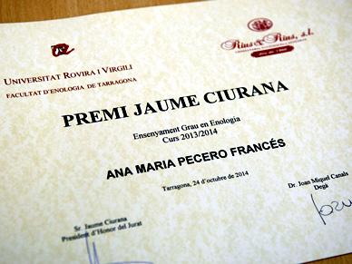 Ana María Pecero ha guanyat el XIV Premi Jaume Ciurana d'Enologia, patrocinat per Rius i Rius